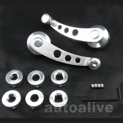 Silver Car Window Winder Crank Glass Handle Billet Aluminium Knob Universal