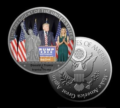 President Donald Trump with His Daughter Ivanka Trump Silver Plated Coin