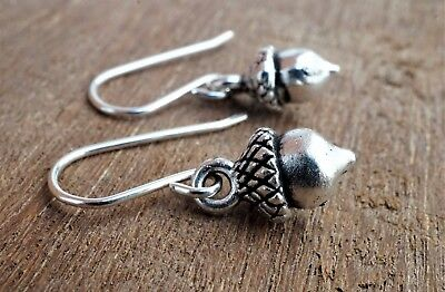 Small Acorn Antique Silver Earrings Sterling Silver Hook