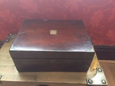 Antique Wooden Writing Box with Brass Inlays