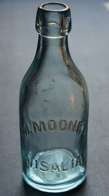 Antique Aqua Western Blob Top Pony Soda Bottle - M. Mooney Visalia California