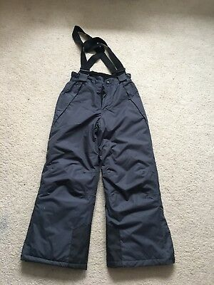 Boys or Girls ski pants / salopettes.  Gey.  Aged 7-8