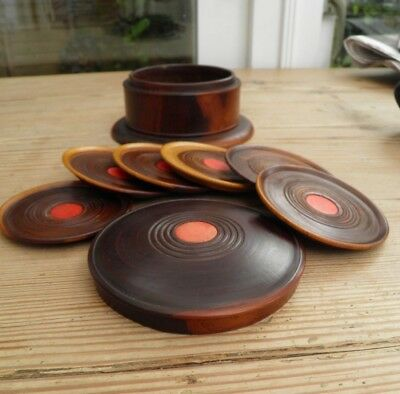 Unusual Antique/Vintage turned Treen Lignum Vitae Boxed set of 6 Coasters