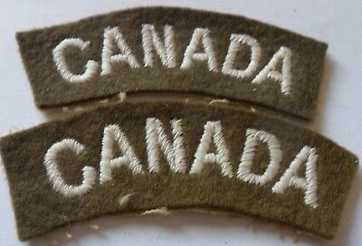 WW2 Pair of Canada Embroidered Shoulder Titles, White on Khaki