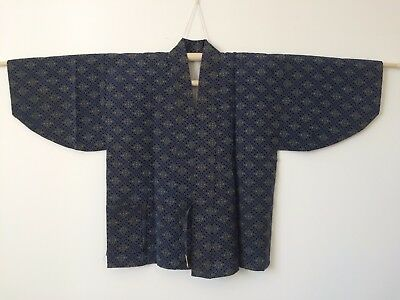 Authentic Japanese blue & green dochugi jacket for women, M, used (J1774)