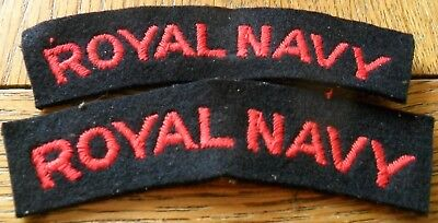 WW2 Pair of Royal Navy Embroidered Shoulder Titles, Red on Navy Blue