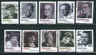 US Sc# 4654-4663 AMERICAN POETS SET of 10 USED OFF PAPER SOUND