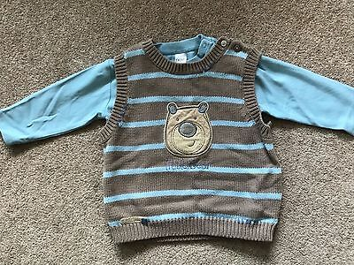 Next blue and brown boys teddy top size 9-12 months