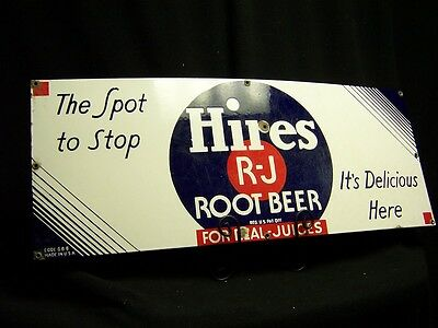 """Original Hires Root Beer Porcelain Sign 28 x 11 """"The Spot to Stop"""" Code GB 8"""