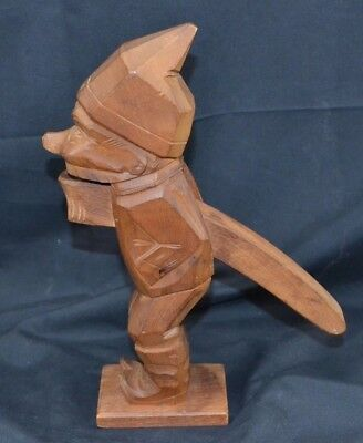 Large Black Forest Wood Carved Nutcracker Gnome Elf Woodsman Austria Unmarked