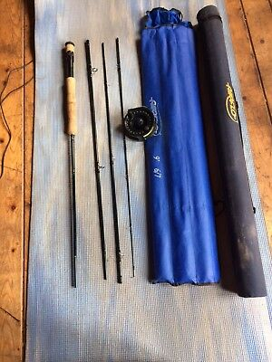 Airflo 9 ft 6/7 fly fishing rod and reel set with hard travel storage bag