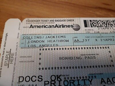 Jackie Collins boarding pass