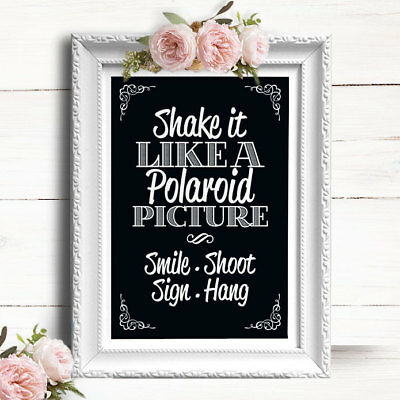 CHALKBOARD EFFECT • Wedding Sign • Polaroid Guest Book Picture CS25 ...