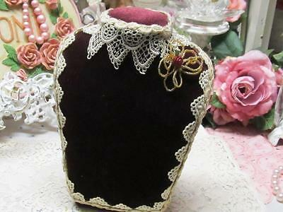 BURGUNDY VELVET NECKLACE DISPLAY with LACE EDGE & BEADED FLORAL~Shabby~Cottage