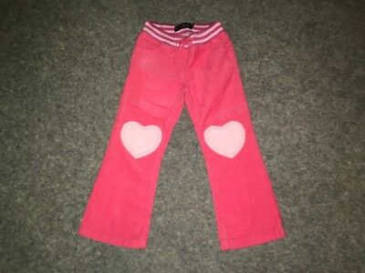Mini Boden Girl's Pink Heart Patch Cord Trousers 5 Years - Brand New
