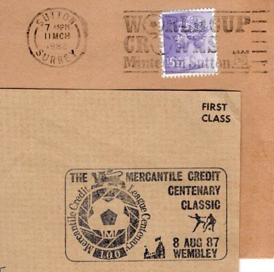 Football Soccer GB 1980s slogan & cancel; cover & piece