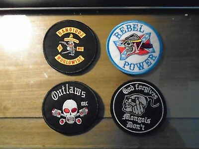 4 piece Round 3.5 inch Motorcycle Patch Set (mongols, Bandidos, Rebels,Outlaws)