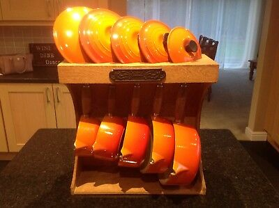 Le Creuset  Orange Pan Set With Stand