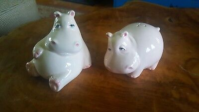 Fitz & Floyd Vintage Pink Hippo Salt and Pepper Shakers