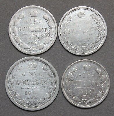 Silver Coins Russian Empire Set 4 Pieces!