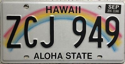 GENUINE American Hawaii Aloha State Rainbow USA License Number Plate ZCJ 949