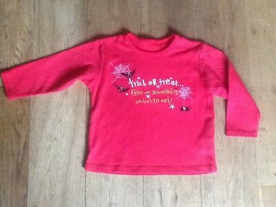 """Halloween Red long sleeve T Shirt """"Trick or Treat"""" 12-18 months - VGC"""