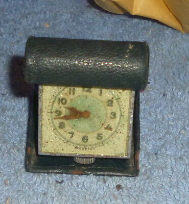 Antique Miniature Travel Clock/watch In Fitted Case