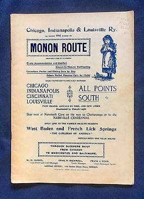 Vintage 1900's Chicago Indianapolis & Louisville Ry. Brochure .  The Monon Route
