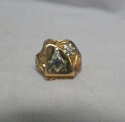 10K Yellow Gold Gothic Masonic Ring Diamond Mason Compass Size 8-1/2