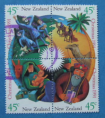 New Zealand 1991 Christmas USED BLOCK  - ALL DIFFERENT