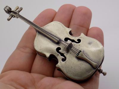 Vintage Solid Silver Italian Made BIG Contrabass Instrument Miniature, Stamped