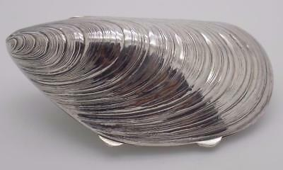 Vintage Solid Silver Italian Made BIG Pill / Snuff Mussel Box, Stamped, RARE