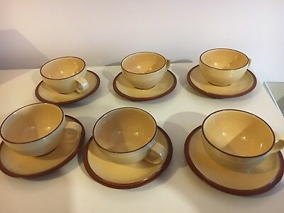 DENBY POTTERY - Juice - TEA CUP & SAUCER Lemon Yellow X6