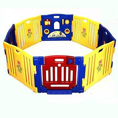 8 Panel Plastic Baby Playpen Activity Panel Foldable Portable Baby Kids Safe