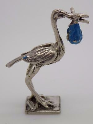 Vintage Solid Silver Italian Made Stork w/t Baby Miniature, Figurine, Stamped*