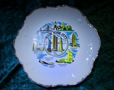 Vintage New York City NY Gold Rim Wall Plate World Trade Center Twin Towers RARE