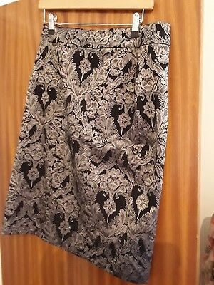 Laura ashley. Black and silver brocade pencil skirt. SIZE 12
