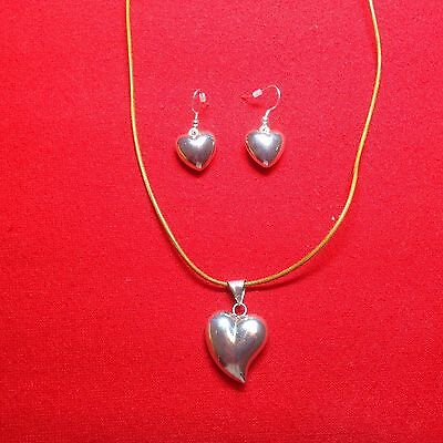 Pendant & Drop Earrings heart shaped MEXICAN Silver - Hallmarked - used