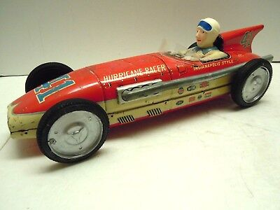 "Lg 15"" 1950's Japan Tomiyama Tin Friction Indy Boat Tail Race Car.WORKS. NO RES."