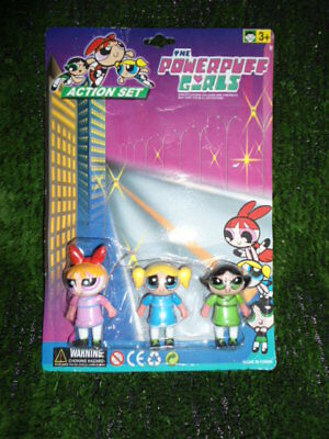 "Vintage Power Puff Girls Mini Action Figure Set - Largest 2 3/4"" Tall"