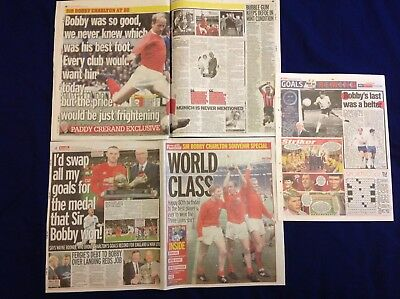 Bobby Charlton Souvenir Newspaper Pullout Clippings cuttings Manchester United