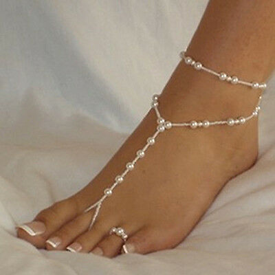 New Pearl Barefoot Sandal Anklet Ankle Bracelet Foot Chain Toe Ring Jewelry hkuk