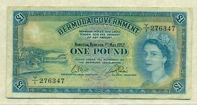 Lot 957 Bermuda 1957 1 Pound Note - Very Fine