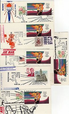 1984 Los Angeles Olympic Torch Relay 6 cards postally travelled