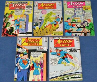 Action Comics #292,294,310,313,314~Silver Age DC Lot~Superman~GD/VG to VG