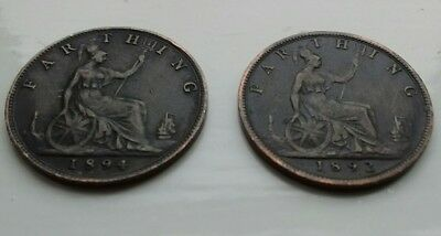 Victoria Farthing GB coins  1892 and 1894