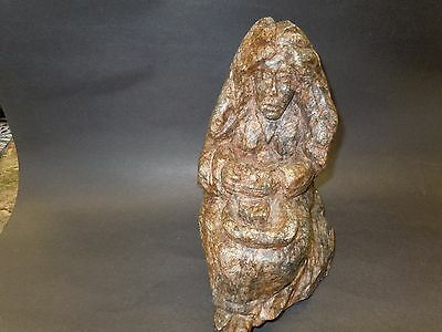 Native American  Art Soapstone Carving _ Sitting Woman By Angry Bear