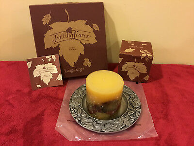 "Longaberger Falling Leaves Inclusion Candle with 8"" Metalware Plate - New"