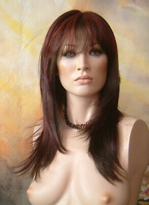 Last One! Amelia in Burgundy Blend Long All Over Layers Wig 1/2 Price