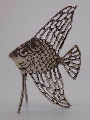 Vintage Solid Silver Italian Made REAL LIFE SIZE Tropical Fish, Stamped